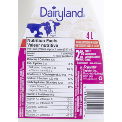 Calories In 2 Milk From Dairyland
