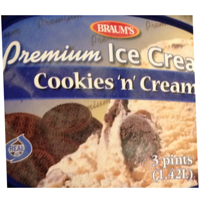 Calories In Premium Ice Cream Cookies N Cream From Braum S Grocery