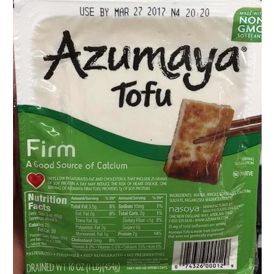 Calories In Tofu Firm From Azumaya